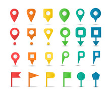 Set Of Map Markers And Colorful Pointers. Navigation Map Pins. Collection GPS Icons.