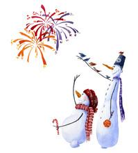 Two Snowmen Watching Fireworks...