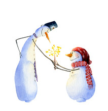 Two Snowmen Looking At A Spark...