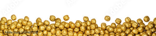golden walnuts as panorama or banner, isolated on white background Canvas Print