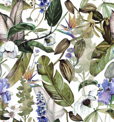 jednolity-wzor-akwarela-z-tropikalnych-kwiatow-magnolii-kwiatu-pomaranczy-wanilii-tropikalnych-lisci-lisci-bananowca