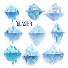 Glacier Frozen Rock And Iceber...