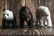 Figure Of A Toy Polar Bear, Brown Bear And Panda On A Wooden Background