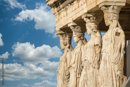 Caryatids at Erechtheum of Parthenon in Athens Greece Canvas Print
