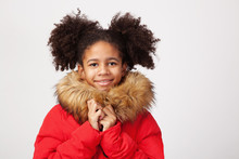 Cute Teenage Girl In Red Winter Parka