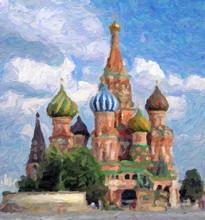 Impressionnisme. Basilique Saint Basile Le Bienheureux. Moscou