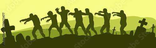 Black graphic hand drawn silhouette walking group of monsters dead zombies Canvas Print