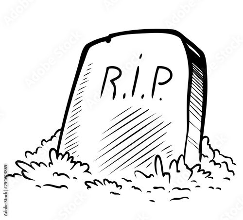 Canvastavla Cartoon graphic black and white tomb gravestone with R
