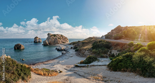Panoramic shot of the coast of Aphrodite's birthplace near Paphos city, Cyprus Canvas Print