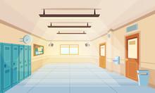 Color Cartoon High School Hall...