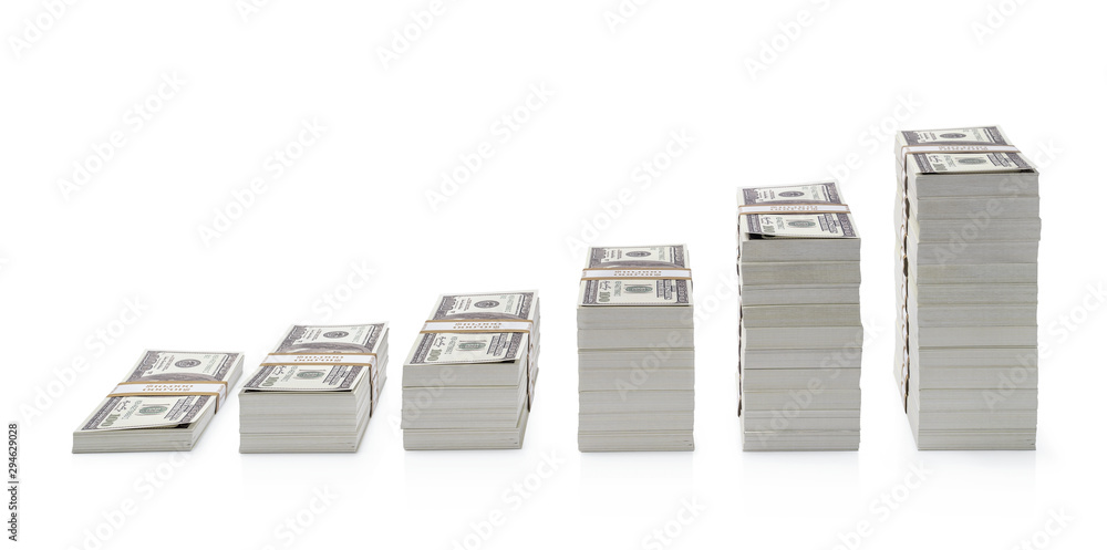 Fototapety, obrazy: Increasing piles of dollar bills isolated on white background