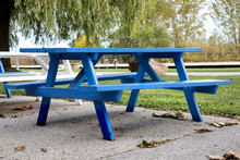 A Blue Picnic Table Under The ...