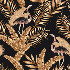 Fototapeta Do sypialni Golden bird flamingo gpld leaves seamless black background