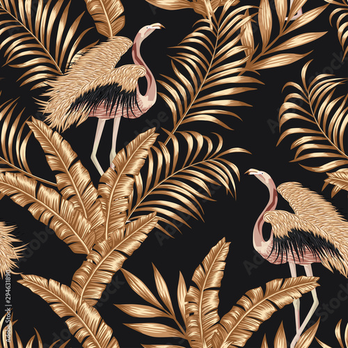 Golden bird flamingo gpld leaves seamless black background Fototapeta