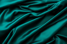 Elegant Dark Green Fabric Texture, Abstract Backdrop And Modern Pastel Colours Concept - Purple Soft Silk Waves, Flatlay Background