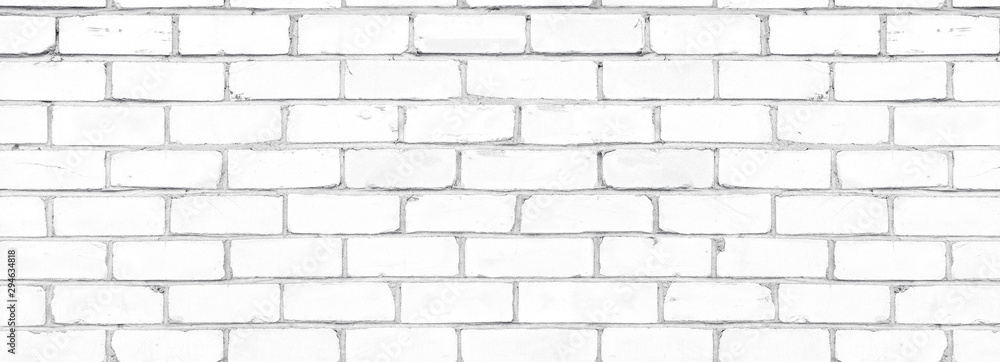 Obraz Old shabby white exterior brick wall texture. Cement block whitewashed widescreen background fototapeta, plakat