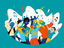 Group Of People Of Different Ages Is Happy To Be Together Celebrating A Special Event. Happy Family Enjoy Concert, Music Festival, Party, Show, Performance, Recital. Vector Illustration