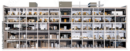 obraz lub plakat Section view visualization of the interior room space of building without a front facade wall