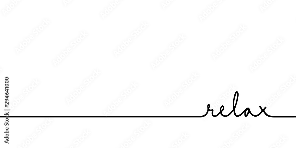 Fototapeta Relax - continuous one black line with word. Minimalistic drawing of phrase illustration
