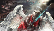 Angel With The Sword. Fell. Battle Of Angels. Digital Painting. Portrait.