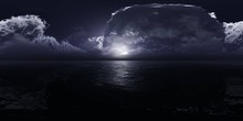 Panorama Of A Stormy Sea, HDRI, Environment Map , Round Panorama, Spherical Panorama, Equidistant Projection, 360 High Resolution Panorama