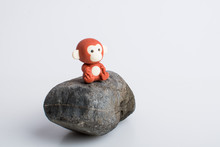 Monkey Rubber Toys, Cute Animal Shaped Rubber Doll Isolated In White Background.