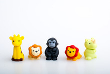 Giraffe, Lion, Gorilla And Rhino Rubber Toys, Cute Animal Shaped Rubber Doll Isolated In White Background.