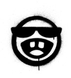 Fototapeta Młodzieżowe - graffiti sprayed icon with sunglasses laughing out loud