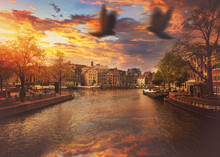 Canals Of Amsterdam On A Sunny...