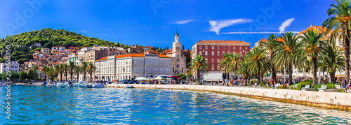 Travel and landmarks of Croatia - beautiful town Spilt, popular tourist and cruise destination