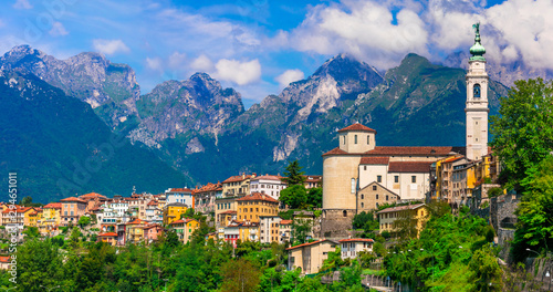 Travel in northern Italy - beautiful Belluno town surrounded by impressive Dolom Wallpaper Mural