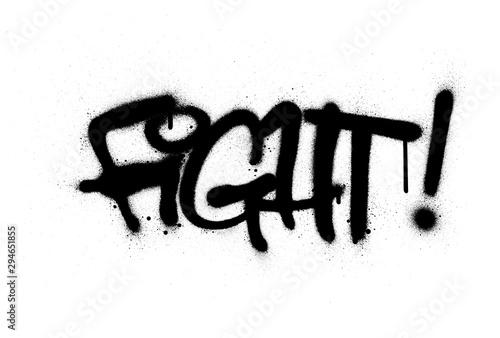 graffiti fight word sprayed in black over white