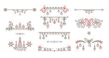 Christmas Linear Vector Decorative Borders Set