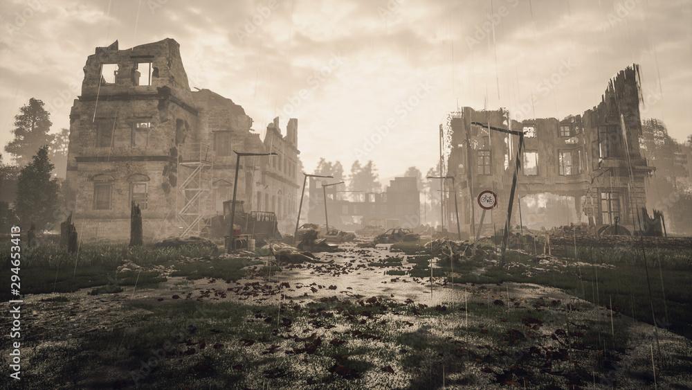 Fototapeta Ruins of a city. Apocalyptic landscape