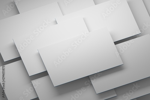 Pile of white empty blank white business cards arranged flying in layers Canvas-taulu
