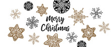 Christmas Greeting With Decorative Ornamental Black And Gold Baubles - Hand Drawn Retro Look- For Horizontal Christmas Cards