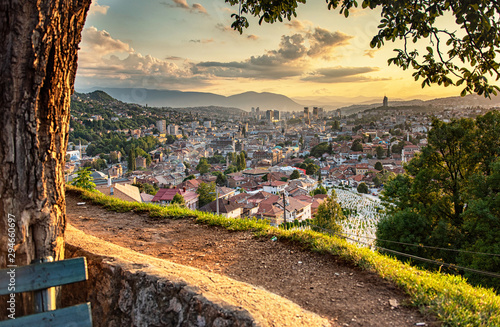 Photo Stands Cappuccino Sunset view of Sarajevo, Bosnia