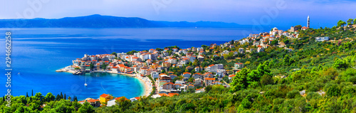 Spoed Foto op Canvas Panoramafoto s Amazing Adriatic coast. Beautiful beaches and villages of Croatia - Igrane in Makarska riviera