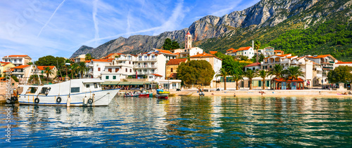 Scenic Adriatic coast of Croatia - picturesque Gradac village, popular tourist resort
