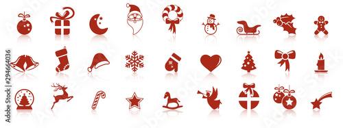 Fototapeta collection christmas icons with reflection obraz