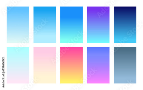 Fototapeta Vector set of gradient backgrounds sky color palette obraz