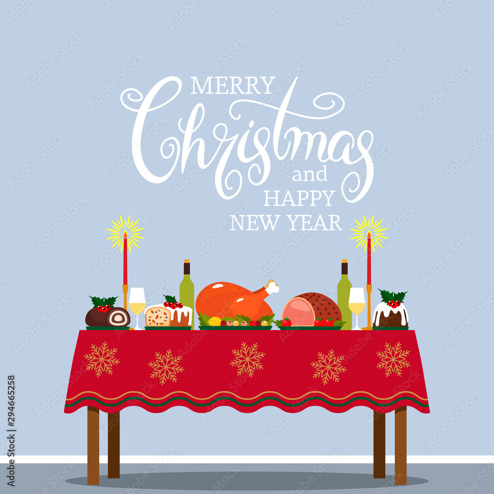 Fototapety, obrazy: traditional festive christmas table with tablecloth, turkey and christmas pudding. Congratulatory text of calligraphy, manual lettering for the New Year and Christmas