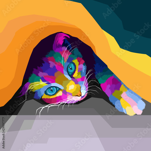 colorful cat polygonal geometric pop art style фототапет