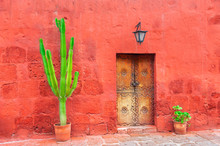 Old Red Wall, Wooden Door And Green Cactuses. Santa Catalina Monastery In Arequipa, Peru