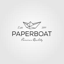 Paper Boat Line Art Origami Lo...
