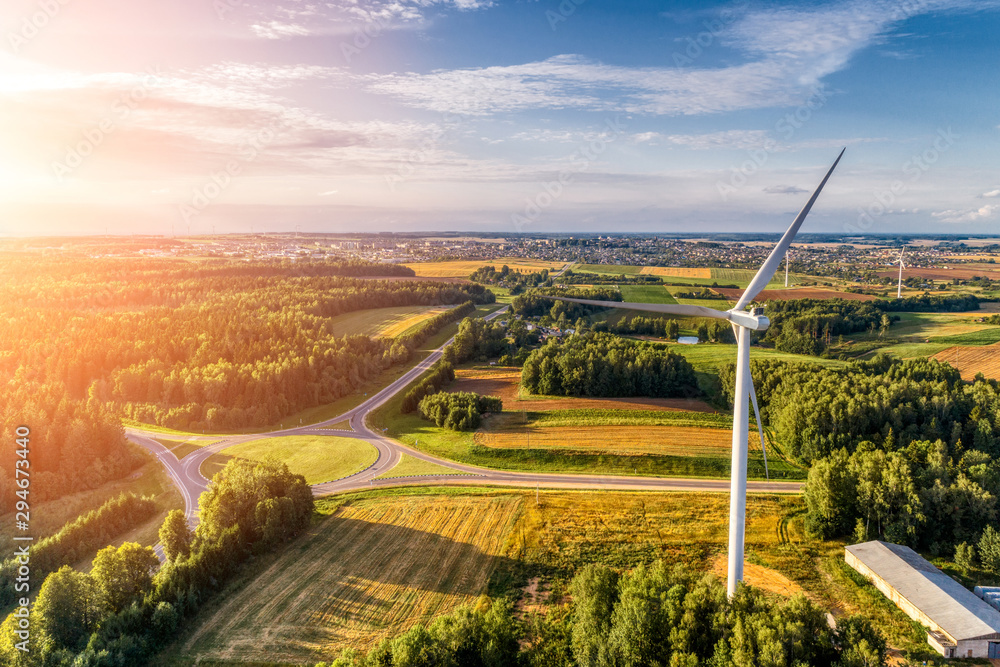 Fototapety, obrazy: Wind power station. Aerial view.