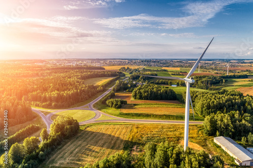 Fotomural Wind power station. Aerial view.