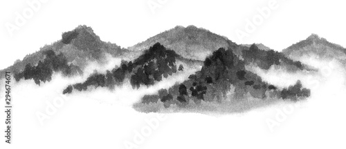 Background with mountains. Ink mountain. Black and white image. Ink Chinese mountain landscape. Mountains in the fog. Trees on the mountain. Ink image. Pines. Hill,  peak