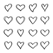 Tangled Grunge Round Hand Drawn Heart Icons Set Isolated On White Background. For Poster, Wallpaper And Valentine's Day. Collection Of Hearts, Creative Art