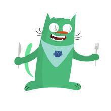 Cute Green Cat